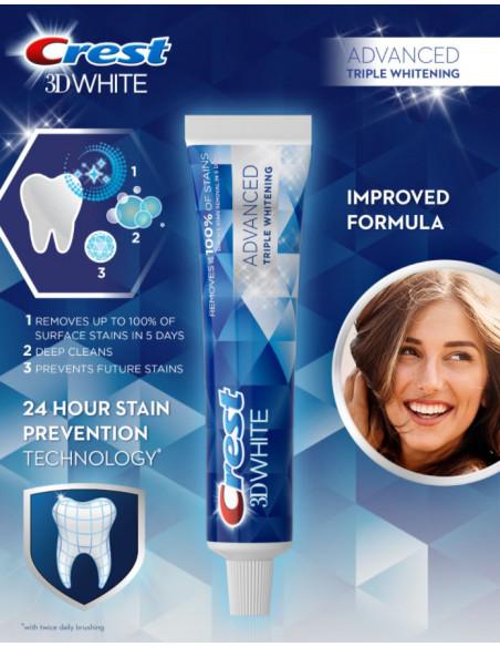 Отбеливающая зубная паста Crest 3D White Advanced Triple Whitening фото 4