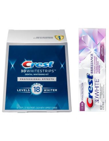 Crest 3D White Professional Effects + Crest 3D White Brilliance - Отбеливающие полоски + паста фото