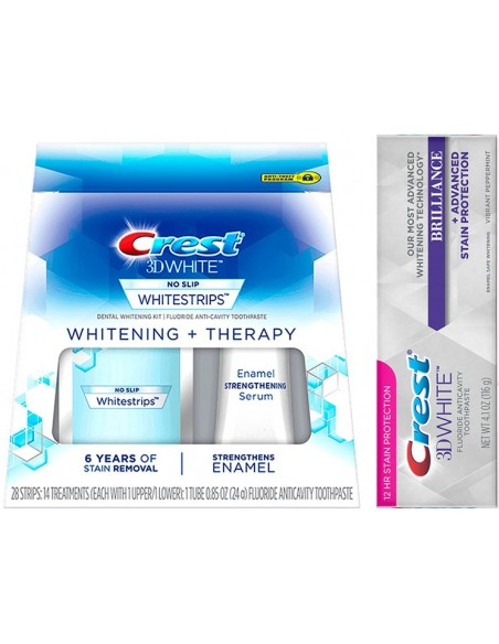 Crest 3D White Whitestrips Therapy + Crest 3D White Therapy - Отбеливающие полоски + паста фото