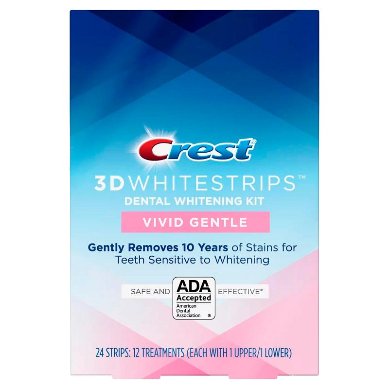 Отбеливающие полоски для зубов Crest 3D Whitestrips Vivid Gentle